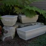 "#007 Courtyard Planter, Dia., Exterior: 18 1/4"" x 18 1/4""; Interior: 15x15""; Base: 11 1/4""; Height: 13 1/2"", (79 lbs.), #027 Double Courtyard Planter, Length: 31""; Width: 18 1/2""; Height: 13 1/2"" (158 lbs.), #062 Triple Courtyard Planter, Length: 46""; Width: 18 1/2""; Height: 13 1/2"" (220 lbs.),"