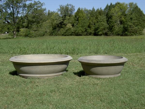 "#020, Anderson Bowl Planter, Dia., Exterior: 48 3/4""; Interior: 41 3/4""; Base: 36""; Height: 14 1/4"" (450 lbs.) #061 Small Anderson Bowl Planter, Dia:, Exterior: 35 1/2""; Interior: 28 5/8""; Height: 13 3/16""; Base: 24"" (271 lbs.)"