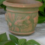 "#025 Small Goldfish Planter, Dia.: 9 3/4""; Base: 5 1/2""; Height: 8 1/2"" (6 lbs.)"