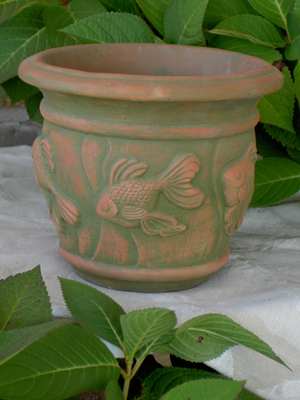 "#025 Small Goldfish Planter, Dia.: 9 3/4""; Base: 5 1/2""; Height: 8 1/2"" (6 lbs.)"