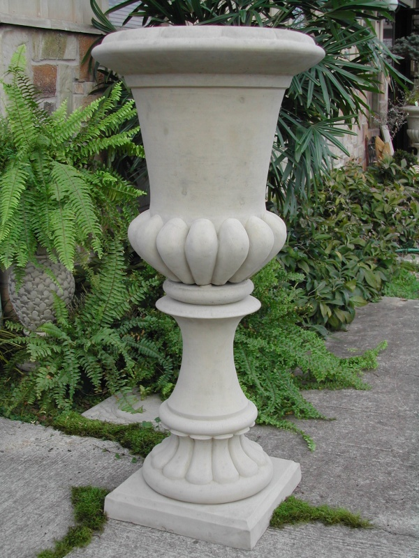 """#059 Tall Fluted Urn, dia.: 20 3/4""""; Base 15"""" x 15""""; Height: 45 1/4"""" (227 lbs.)"""