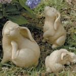 "#106 Grooming Bunny, 7"" H x 5"" L x 5 1/2"" W (6 1/2 lbs.), #105 Small Sitting Bunny, 6 3/4"" H x 4 1/4"" L x 4 1/2"" W (3 lbs.), #111 Minnie bunny, 2 1/2"" H x 5 1/4"" L x 3"" W (1 1/4 lbs.)"