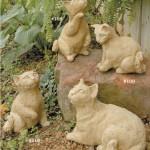 """#110 Persian Kitten, 9 1/2"""" H x 6"""" L x 6"""" W (9 1/2 lbs.), #108 Standing Kitten, 10 3/4"""" H x 5 1/2"""" L x 5 1/2"""" W (8 lbs.), #109 Resting Kitten, 8"""" H x 8"""" L x 4 3/4"""" W (7 lbs.), #107 Reclining Cat, 8 1/2"""" H x 12"""" L x 6 1/2"""" W (19 lbs.)"""