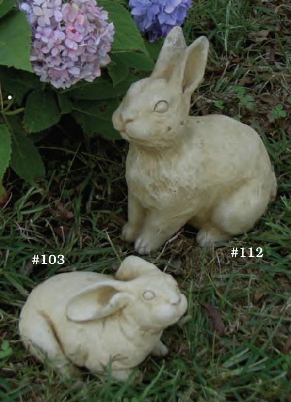 """#103 Small Resting Bunny, 4 1/2"""" H x 7"""" L x 4"""" W (3 1/2 lbs), #112 Bill Bunny, 9 1/2"""" H x 7 1/4"""" L x 4 3/4"""" W (7 lbs.)"""