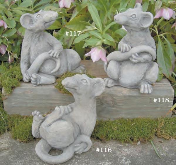 "#117 Rodney, 7"" H X 7"" X 5 "" (3 1/2 lbs.), #118 ratsmore, 8"" H x 5"" x 5"" (4 lbs.), #116 Ace, 6 1/2"" H x 8"" x 6"" (4 1/2 lbs.)"