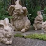 """#143 Resting angora Rabbit, 11 1/2"""" L x 7"""" x 7"""" (15 lbs.), #144 Sitting Angora Rabbit, 13"""" H x 8"""" x 8"""" (17 lbs.), #145 Baby Resting Rabbit, 4 1/2"""" L x 3 1/2"""" x 3"""" (5 lbs.), #146 Baby sitting Rabbit, 8 1/4"""" L x 5"""" x 4 1/2"""" (5 lbs.)"""