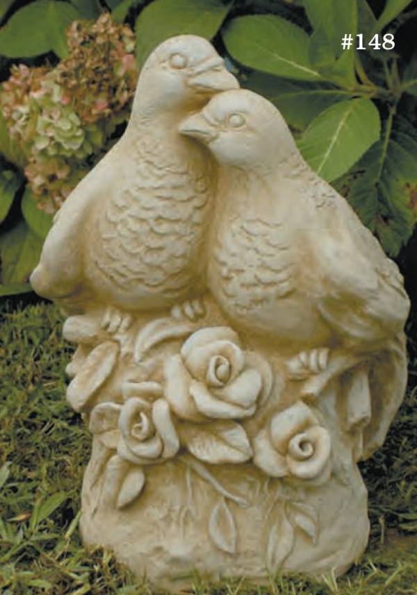 "#148 Love Birds, 13"" H x 8 1/2"" x 6 1/2"" D (27 lbs.)  These finely sculpted Love Birds are shown in natural with pecan wash. They make a beautiful birdbath feature or garden ornament."