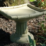 "#327 MINIATURE ORIENTAL BIRDBATH, 13-1/2"" W x 13-1/2"", 11-1/4"" H (30 lbs.), Clean, crisp lines and a suggestion of bamboo give this small sized birdbath the best of oriental design."