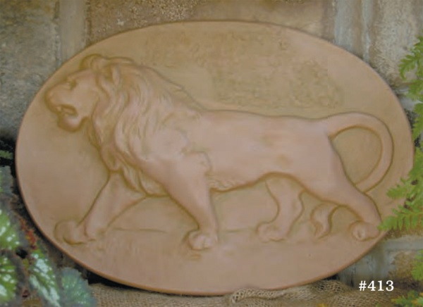 "#413 Lion Plaque, 15"" H x 21 1/2"" W; 2 1/4"" at thickest part (9 lbs.) Cast in resin, this reproduction has a highly detailed sculptor's surface."
