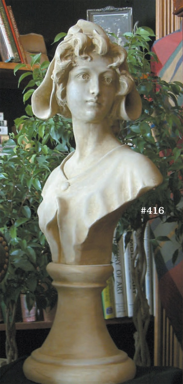 "#416 lady iris, 28"" H x 12"" x 8 3/4"" D (47 lbs.) Beauty and grace describe this classical Dutch figure. Handcast in weather durable concrete, this sculpture is wonderful in the garden yet sophisticated enough for fine interiors. Shown in natural concrete with pecan wash."