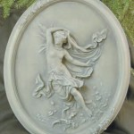 "#418 Isabella, 16"" H x 13"" x 2 1/2"" (8 lbs.) This graceful art nouveau figure plaque can hang indoors or out."