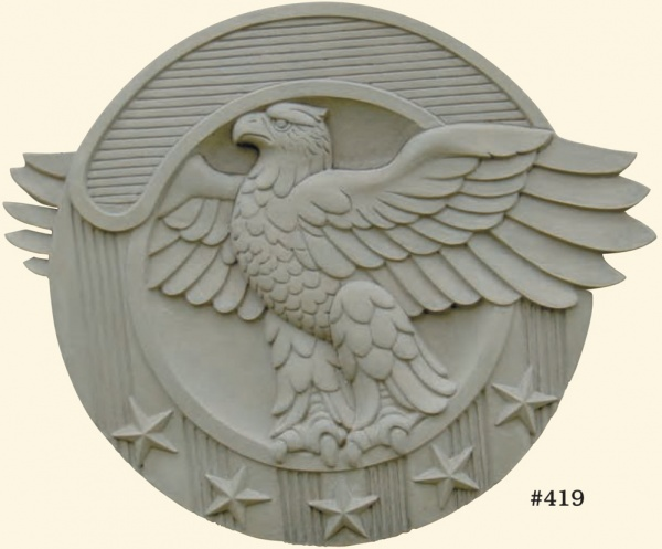 "#419 Eagle Plaque, 20"" x 16 1/4"" H x 1 1/2"" (17 lbs.)"