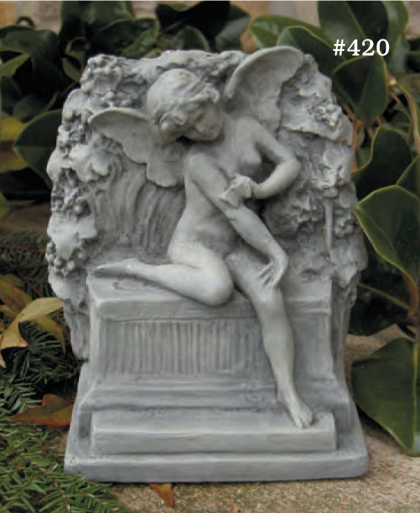 """#420 Butterfly Fairy, 7 1/2"""" H x 6 1/2"""" x 4"""" (5 1/2 lbs.) Romantic and charming, this small sculpture can serve as a bookend or garden ornament."""