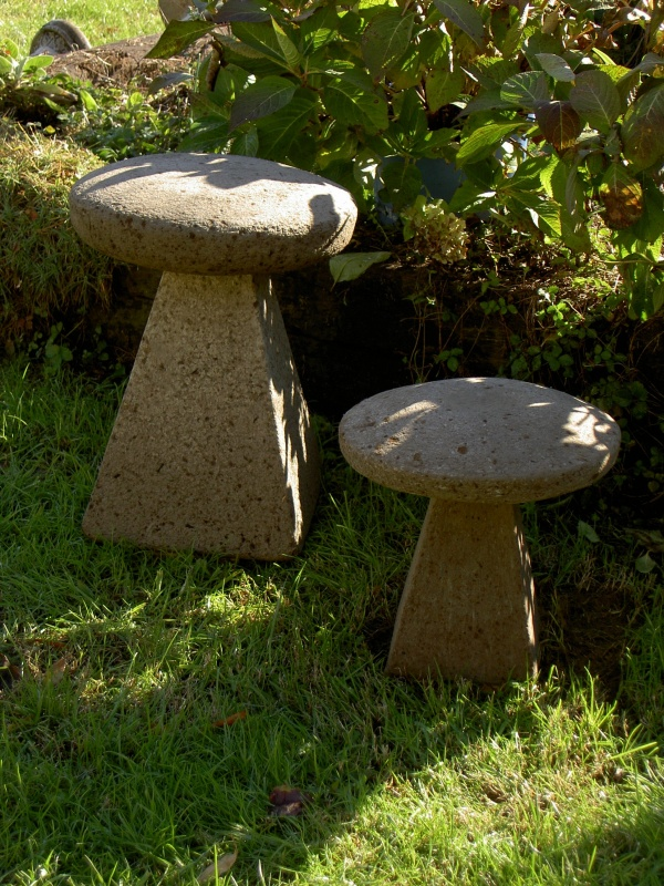 """#511 Staddle Sonte (20"""") 20"""" W x 19"""" H (103 lbs.) and #511 B Small Staddle Stone, 14"""" W x 16"""" H (34 lbs.)"""