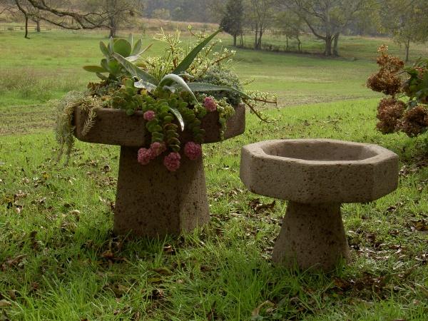 """#518 and #518A, Large Succulent Bowl, Includes Pedestal, 22"""" D x 18"""" H (104 lbs.), #518A Large Succulent Birdbath, Includes Pedestal, 22"""" D x 18"""" H (104 lbs.), #519 Medium Succulent Bowl, Includes Pedestal, 16 1/2"""" D x 12"""" H (36 lbs.), #519 A Medium Succulent Birdbath, Includes Pedestal, 16 1/2' D x 12"""" H (36 lbs.)"""