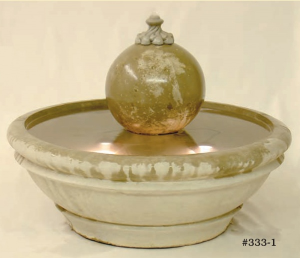 """#333-1 Terrace fountain with Sphere, Dia: 32 1/2""""; Height: 20"""" (216 lbs.)"""