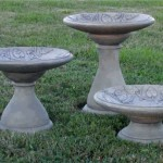 "VINE MOTIF BIRDBATH in three heights, #303-1 Low, 22"" W x 10-1/2"" T (63 lbs.), #303-2 Medium, 22"" W x 18"" T (66 lbs.), #303-3 Tall, 22"" W x 24-1/2"" T(99 lbs.)"