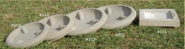 "Round Concrete Saucers, #312-4 13"" Int. D (25 lbs.), #312-3 15"" int. D (35 lbs.), #3122 18"" Int. D (52 lbs.), #312-1 20"" Int. D (74 lbs.)"