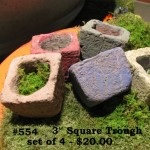 "Square Troughs Assorted colors as shown.5.5"" W x 7"" T x 7"" Deep (6 lbs.) ©2011"