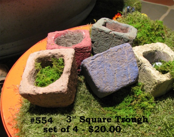 """Square Troughs Assorted colors as shown.5.5"""" W x 7"""" T x 7"""" Deep (6 lbs.) ©2011"""