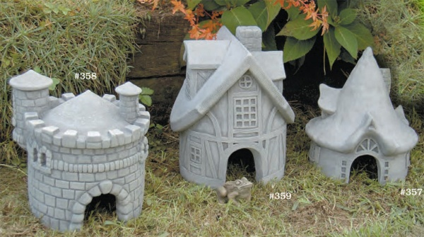 "#358 Hopsburg Castle Toad House, 11"" x 9"" x 10 1/2"" H (15 lbs.), #359 Toad Tavern Toad House, 10 1/2"" x 10 1/2"" x 13"" H (24 lbs.), #357 Summerbridge Toad House, 10 1/2"" x 9 1/2"" x 11"" H (13 lbs.)"