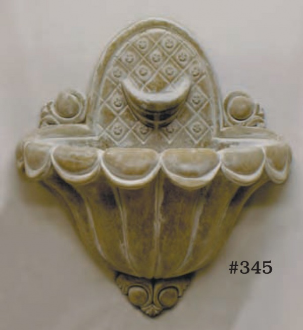 "#345 Regency Wall Fountain, Width: 24""; 12"" Deep; height: 23"" (60 lbs.). Ornate and decorative, this fountain is plumbed to recirculate, but can also be used to overflow into larger basin below. Recessed hangers are same as #346 Shell Wall Fountain."