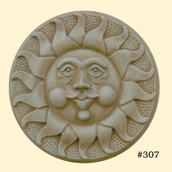 """#307 SUN PLAQUE 15-1/2"""" D, 3-1/2"""" thick, (17-1/2 lbs.) Recessed stainless steel hanger."""