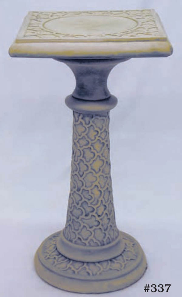 "Cloud Design Pedestal, Height 23 1/2"", Top 15 1/2"" x 15 1/2""; Base: 13 1/2"" D (94 lbs.) Great for use with sundial or as a small table."
