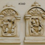 "#340 GOTHIC WINDOW PLAQUES (PAIR), 5"" W x 8-1/2"" T x 1-3/4"" D (2 lbs. each)  Ready to hang or stand, this pair of whimsical winged rodents are sure to be noticed. Cast in resin with antique gray finish."