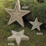 "Butterflies are attracted to rain water collected in these attractive garden stars. #351 SMALL STAR 9"" PUDDLER, 9"" Diameter x 2"" H (3 lbs.), #352 MEDIUM STAR 12"", 12"" Diameter x 2-3/4"" H (8 lbs.), #353 LARGE STAR 17"", 17"" Diameter x 2-3/4""H (18 lbs.)"