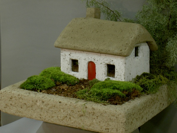 "#537B Irish Cottage with Red Door, Approx. 15"" x 9 3/4"" D x 12"" H (32 lbs.)"