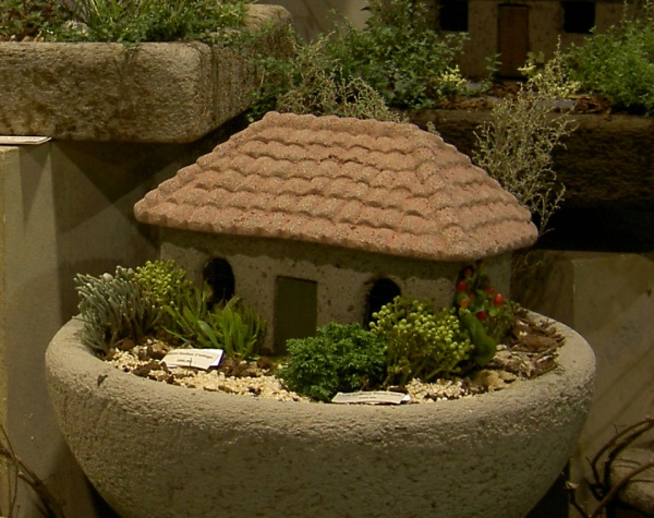 """#534 Italian Cottage, Approx. 14 1/2"""" x 9 1/2"""" x 10"""" H (21 lbs.) Shown landscaped in #536 English Farm Sink."""
