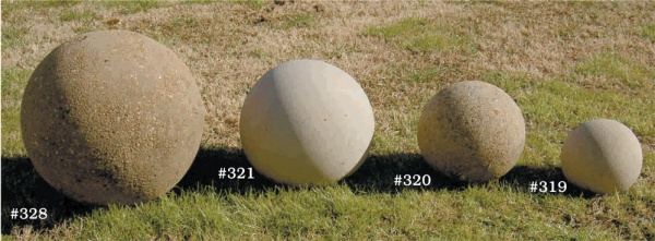 "#319 SMALL SPHERE ,8"" Diameter (20 lbs.), #320 MEDIUM SPHERE 10-1/2"" Dia., (67 lbs.),  #321 LARGE SPHERE 10 1/2"" Dia., (100 lbs.), #328 EVEN LARGER SPHERE, 18"" Diameter (200 lbs.)"