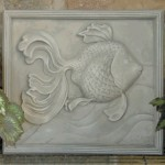"#322 GOLDFISH PLAQUE Cast in resin with antique gray finish.part (14 lbs.),18"" H x 19-3/4"" W; 2"" at thickest"