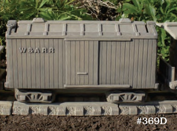 "#369D box Car Planter, 18"" L x 6 3/4"" W x 9 1/2"" T (36 lbs.) Shown with lid which removes to reveal planting space."
